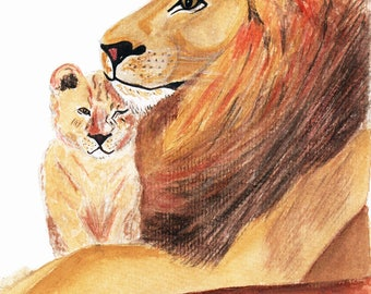 Lion and cub hand drawn and painted print in black frame, father's day, personalised