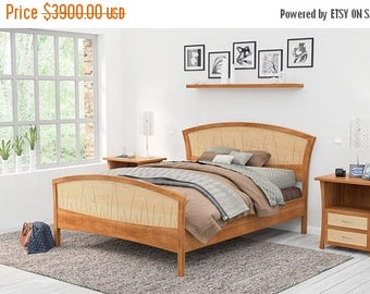 SALE Bed Frame King Size, Headboard, Platform Bed, Queen, Art Deco, Handmade, Wood, Cherry, Curly Maple, Inlay