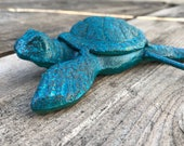 Sea Turtle Wall Hook, Bathroom Towel Hooks, Cast Iron Ocean Tortoise Hanger, Aqua & Black Hand Painted, Bath Accents, Item #520867652