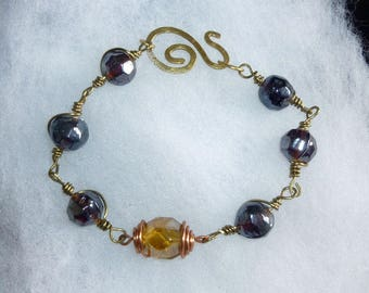 Amber Glass Beads Bracelet hand made copper and brass