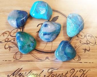 Azurite Chrysocolla tumble stone, Chakra Balancing, Reiki Charged, Healing Crystals, Worry Stone, Empowerment