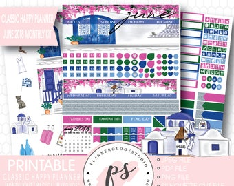 June 2018 Monthly View Kit Printable Planner Stickers | Magical Mykonos (for use with Classic Happy Planner) | JPG/PDF/Silhouette Cut File