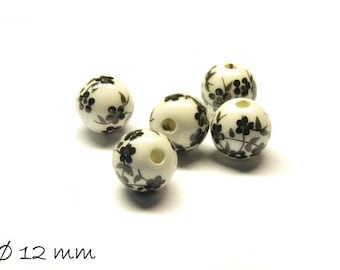 10pcs porcelain beads Ø 12 mm white black flowers flowers