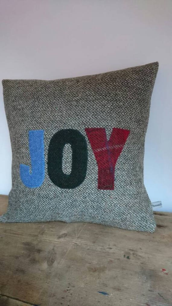 SALE Hand Crafted Harris Tweed Christmas Joy cushion cover