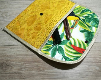 Vanity case in faux leather Croc and tropical cotton