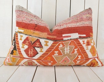 16x24 Decorative Kilim Pillow, Handmade Kilim Pillow, Vintage Kilim Pillow, Kilim Pillow Cover, Turkish Kilim Pillow, Kilim Cushion Cover