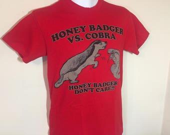 HONEY BADGER vs COBRA- Honey Badger don't Care T-Shirt Adult -S  z