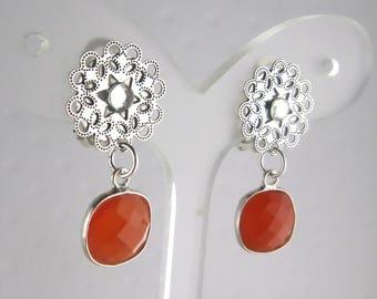 Carnelian stone clip earrings