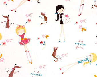 """Kawaii Girls Dog Cat Fabric made in Korea 45cm by 160cm or 18"""" by 63"""" by the half yard"""