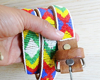 Genuine leather belt ethnic hand embroidered Southwest hippie beaded belt brown Guatemala Mexican belt Vintage 1990s