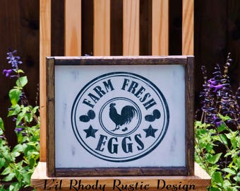 Farm Fresh Eggs Sign, Farmhouse Sign, Rustic Sign, Kitchen Sign Decor, Home Sign Decor, Sign Gift Ideas, Distressed Sign, HouseWarming Sign