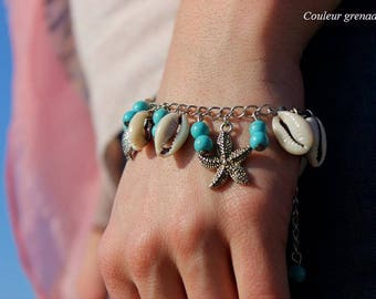 Turquoise charm bracelet seashells turtle charms star shell gift party a grand mothers, Easter