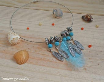 The ethnic Choker feathers turquoise beads