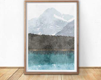 Mountain art, abstract print, nature poster, forest wall art, mountains prints, landscape printable, minimalist decor, mountain art print