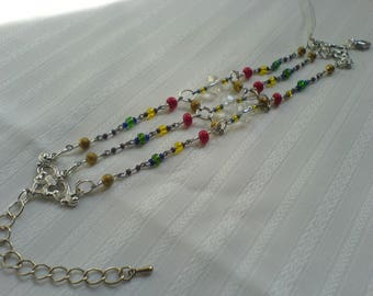 Bracelet 3 rows glass beads