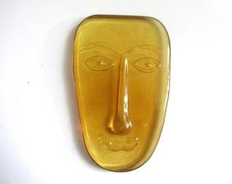 Vintage Head Face Yellow Glass Sculpture House Home Decor Accent Souvenir Collectible