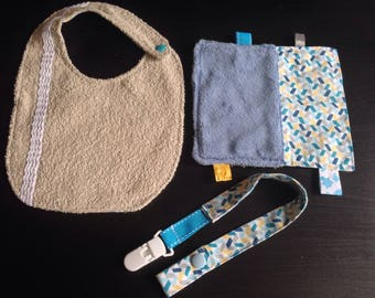 Baby bib, blanket and pacifier pouch