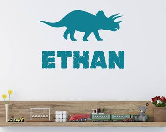 """Triceratop Dinosaur Personalised Boys ANY NAME Childrens Girls Nursery Bedroom Vinyl Wall Art Sticker Decal Transfer 330mm *20 colours"""""""