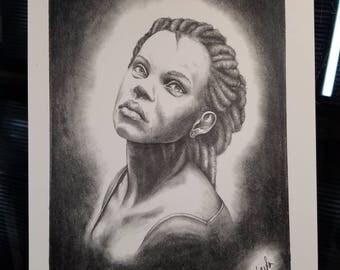 Graphite Drawing Portrait Print