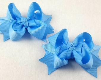 Blue Mist/Mini Hair Bows-Set of 2/Hair Accessory/Little Girl Hair Bow/Toddler Bow/Blue Mist Hair Bow/Mini Hair Bows/Pig Tail/Piggy Tail Bows