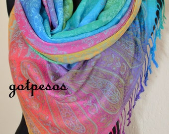 Pashmina Scarf Ombre Rainbow, Scarf for Women