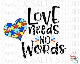 love needs no words autism heart digital file