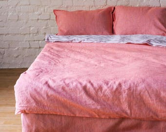 Pure Linen Duvet Cover double sided Sunrise