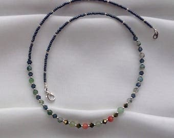 Beaded necklace made with semi precious beads