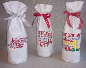 Handmade bottle bags. Christmas, quotes, gift bag. Embroidered, felt, ribbon. Made in Scotland.