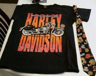 3 piece vintage harley davidson motorcycle collection - tee shirt - tie - roaring mug - nicole miller t shirt cycle bike wings eagle coffee