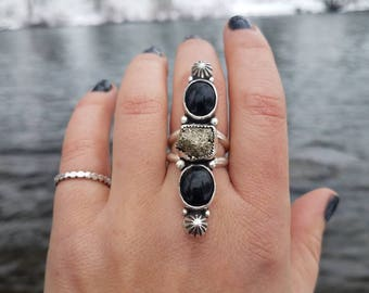 Black Onyx and Pyrite Statement Ring- Size 6.25