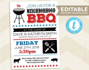 BBQ Invitation / Barbeque Party / Instant Download / digital printable / Backyard BBQ / Potluck Barbeque / Block Party / Neighborhood Party