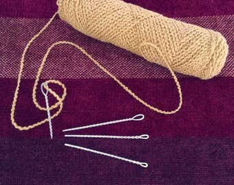Sterling Silver Yarn Sewing Needle, Hand Wrought Silver Yarn Sewing Needle, Fiber Artists Sewing Needle, Knitter Weaver Fiber Artist Gift