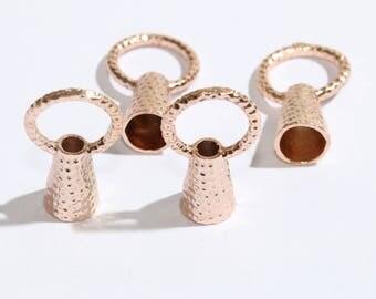 27mm  Rose Gold Tassel Cap, Tassel Cap,  Rose Gold Charms, Cap, Bead Cap,SKU/RS23