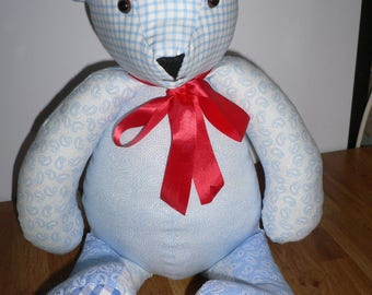 Blue fabric teddy bear