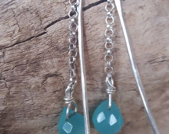 Sterling silver hammered piece with Sterling chain and sky blue quartz earrings