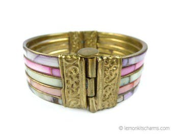 Vintage Mother of Pearl Shell Brass Bangle Bracelet, Jewelry 1960s 1970s, MOP Inlay, Hinged, Ethnic India, Mixed Pink Purple
