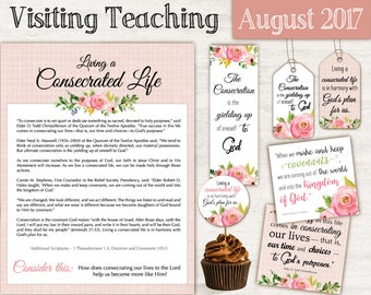 August 2017 Visiting Teaching Message, Relief Society Printable, Instant Download, Message VT LDS handouts, tags, toppers