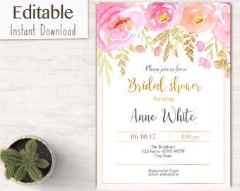 Bridal Shower Invitation, Editable PDF, Bridal Shower Printable, Floral Bridal Shower, Pink Gold, DIY Bridal Shower Template