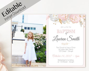 Baptism Invitation Girl, Editable PDF Girl Invitation pink watercolor, Baptism Invite Photo, Girl Baptism announcements, Invitation Template