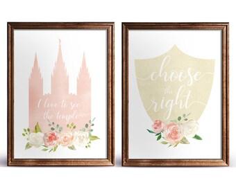 Set of 2 print, LDSTemple, CTR,  Instant Download Digital Printable LDS Gift Art print room decor, flowers peach, cream, lds poster