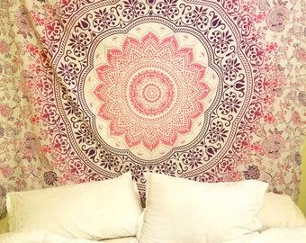 Mandala Tapestry, 100% cotton blanket, Yoga, Meditation, Boho wall hanging, Boho Decor, mandala bedding, Hippie bedding, dorm room