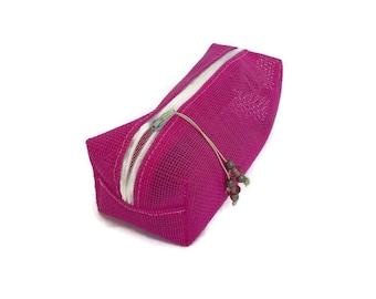 Make-up pink transparent, pink clutch, make-up pouch fuchsia, Fuchsia, case opening pouch fuschia