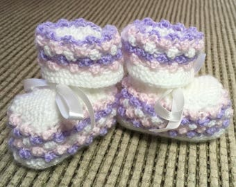 Hand Knitted Booties in White, Mauve and Pink.