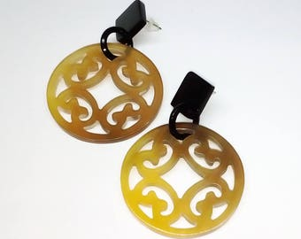 Buffalo horn earrings  - earrings corne de buffle - KAI-2698