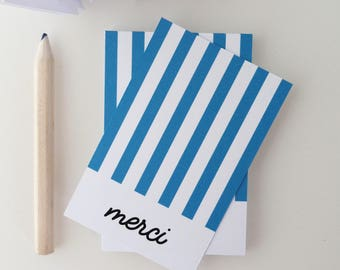 Set of 18 cards of thanks with blue stripes