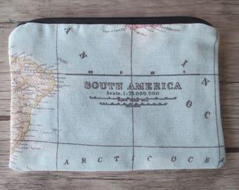 MAP ATLAS zipper pouch, travel, holiday, journey, Earphones, passport, Lipstick, Small Items Bag Organizer, Credit Card Case, Small Gift