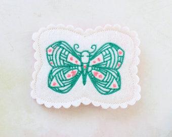 Butterfly Hair Clip / Butterfly Barrette / Wool Felt Hair Clip / Spring Hair Clip / Butterfly Hairpiece