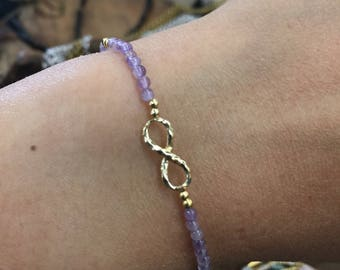 Tiny Amethyst bracelet with infinity sign