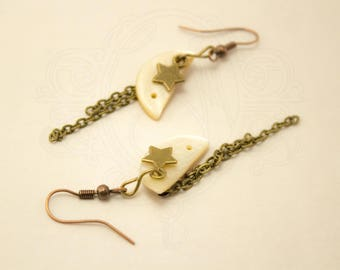 Earrings mother of Pearl and bronze star.